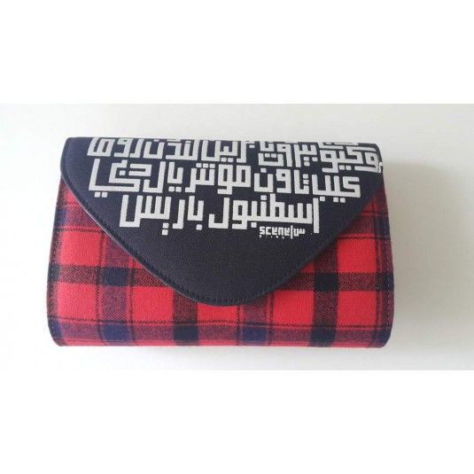 Cosmopolitan Cities Calligraphy Clutch Red, black and night blue