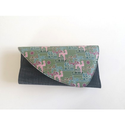 Green and faded dark grey Clutch Hobb & Co.