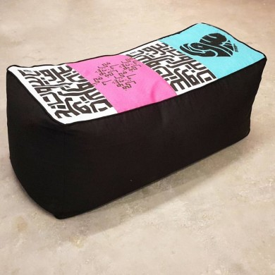 2 Seater Pouf - Blue, Hot Pink and Black