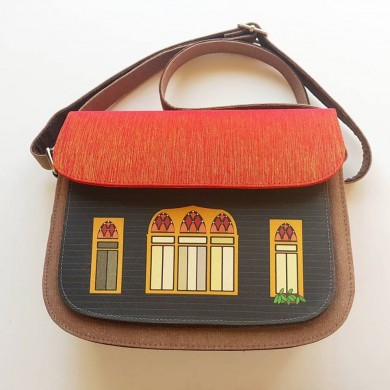 Traditional Lebanese House Crossbody Bag - Brown based